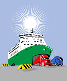 Ferry boat at the docks. Vector art of a Ferry boat at the docks Royalty Free Stock Photo