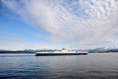 Ferry boat on the fjord Royalty Free Stock Images
