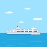 Ferry boat. A flat style picture of farry boat in the sea, traveling and transportation concept Royalty Free Stock Photos
