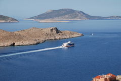 Ferry boat, Halki Stock Photos