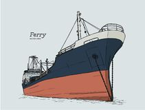 Ferry boat, hand draw sketch vector. Ferry boat, hand draw sketch highly detail vector Stock Photography