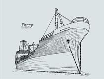 Ferry boat, hand draw sketch vector. Ferry boat, hand draw sketch highly detail vector Stock Images