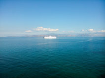Ferry boat. In his way to the port of Corfu island Greece Royalty Free Stock Photos
