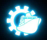 Ferry boat icon in gear. Minimalistic flat sign for graphic design. 3D rendering. Neon bulb illumination Stock Image