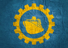 Ferry boat icon in gear Stock Image