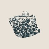 Ferry boat icon. Image relative to sea travelling. Grunge cracked texture Stock Image