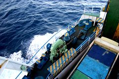 Ferry boat in Indonesia. Used to transport vehicles and people across the ocean Royalty Free Stock Photo