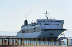 Ferry boat Ionian Star. In Kilini's port Stock Images
