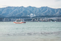 Ferry-boat in island of Miyajima - Hiroshima, Japan. View from t Stock Image