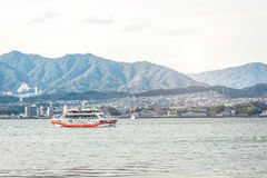 Ferry-boat in island of Miyajima - Hiroshima, Japan. View from t stock photo