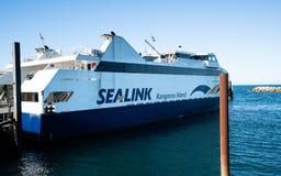 Ferry boat of the Kangaroo Island SeaLink tour operator company in Cape Jervis SA Australia stock photos