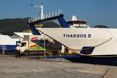 Ferry boat from Keramoti to Thassos (Limenas). Limenas GREECE - June 19: on Thassos island. Stock Photos