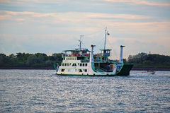 Ferry boat MARCO POLO 1 in Venice, Italy. Venice, Italy - August 21, 2015: Morning. Ferry boat MARCO POLO 1 (VE 8031, IMO 8332588) in the channel Stock Photos