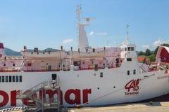 Ferry boat Marmorica in Portoferraio harbour on Elba Island Royalty Free Stock Photography
