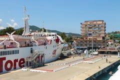 Ferry boat Marmorica in Portoferraio harbour on Elba Island Stock Photography