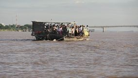 Ferry boat , mekong, cambodia stock video