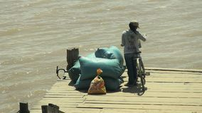 Ferry boat,  mekong , cambodia, southeast  asia stock footage