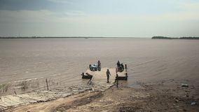 Ferry boat,  mekong , cambodia, southeast  asia stock video footage