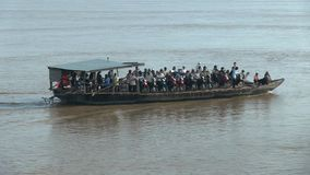 Ferry boat , mekong,  cambodia, southeast asia stock footage