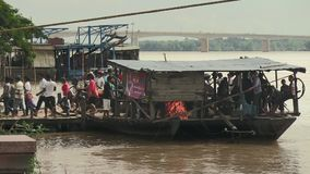 Ferry boat, mekong,  cambodia, southeast asia stock video