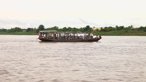 Ferry boat, Mekong,cambodia, southeast asia stock footage
