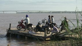 Ferry boat in mekong,  cambodia, southeast asia stock video footage