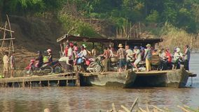 Ferry boat,mekong, cambodia, southeast asia stock footage