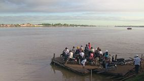 Ferry boat, mekong, cambodia, southeast asia stock footage