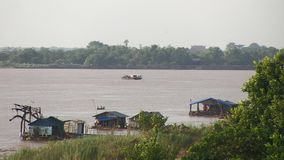 Ferry boat , Mekong, cambodia, southeast asia. Southeast asia - Cambodia - november 2013. Ferry leaves from Kampong cham town (1 stock video footage