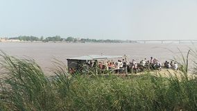 Ferry boat , mekong,   cambodia, southeast  asia stock video