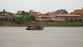 Ferry boat , mekong, cambodia. Two ferries cross each other on the Mekong, Kampong cham stock video