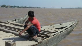 Ferry boat,  mekong , winds,   cambodia, southeast  asia stock video