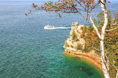 Ferry Boat at Miners Castle - Pictured Rocks, Michigan Stock Photo