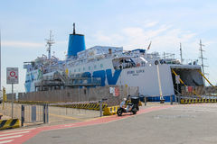 Ferry boat Moby Love at berth in Piombino seaport, Italy Royalty Free Stock Photos