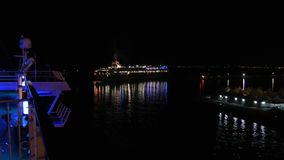 A ferry boat by night stock video