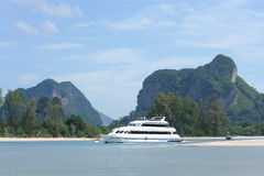Ferry boat at Nopparatthara beach to Phiphi island Stock Photos