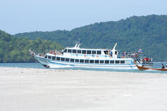 Ferry boat at Nopparatthara beach to Phiphi island Stock Images