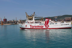 Ferry boat Oclasa at berth in Piombino seaport, Italy Royalty Free Stock Photos