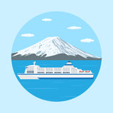 Ferry boat. Picture of a ferry boat in front of big mountain, flat style illustration Stock Photography