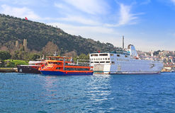 Ferry boat and pleasure boats, Istanbul, Turkey Stock Photo