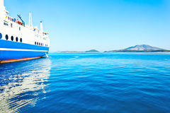 Ferry boat on port Stock Photo