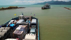 Ferry boat ready to sail to the Koh-Chang island, Gulf of Siam, Thailand stock video footage