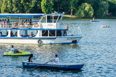 Ferry Boat Ride On Herastrau Lake Stock Image