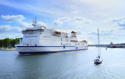Ferry boat sailing from port, Travemunde Royalty Free Stock Images