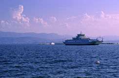 Ferry boat in the sea Royalty Free Stock Images