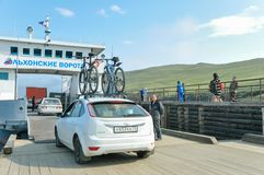 Ferry Boat Ship with open Ramp and car Deck stock image