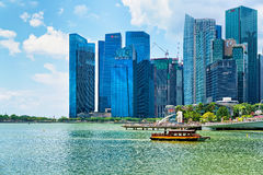 Ferry boat and Skyline in Downtown Core at Marina Bay Royalty Free Stock Photo