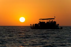 Ferry Boat Sunset Royalty Free Stock Photography