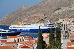 Ferry boat, Symi island Stock Photos