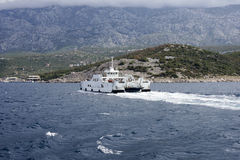 Ferry boat to the island Rab stock image